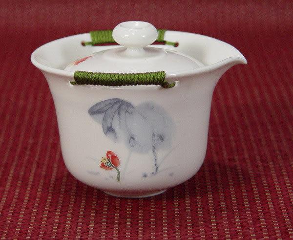 鹿港窯~居家開運商品~三希(台灣製)彩荷浮雕(線塑)蓋杯壺