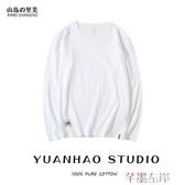 長袖T恤白色長袖t恤女超火純棉大碼韓版上衣寬鬆黑色內搭打底衫潮 芊墨左岸