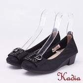 kadia.氣質高雅 水鑽飾釦羊皮包鞋(9057-91黑色)