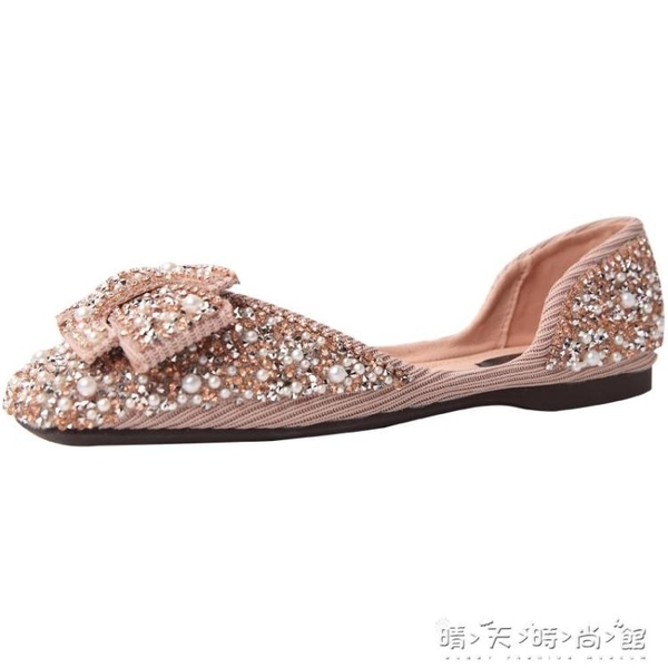 單鞋子女2020年新款春夏網紅方頭平軟底奶奶鞋百搭珍珠水鉆豆豆鞋 晴天時尚