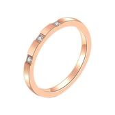 冷淡簡約極簡玫瑰金鈦鋼極細鋯石食指戒指