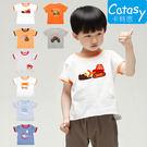 短袖 t恤 上衣 Catasy 純棉 男童 寶寶 工具車 橘 白 灰 動物 老虎 鯊魚 鯨魚