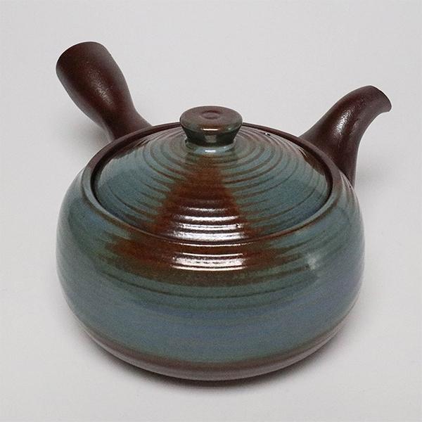 日本陶壺【萬古燒】南蠻福形青釉 橫手急須0.26L 泡茶壺