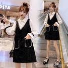 時尚高端名媛氣質連衣裙秋季輕奢假兩件a字裙2020新款大碼女秋裝 蘿莉新品