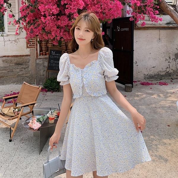 洋裝 方領泡泡袖碎花連身裙-媚儷香檳-【D1523】