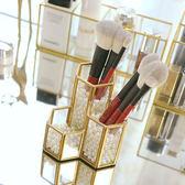 趣高ins風玻璃筆筒化妝刷桶眉筆粉刷刷具梳子文具組合歐式收納盒