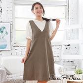 【Tiara Tiara】aw 單色大V領無袖連身裙(綠/黑)