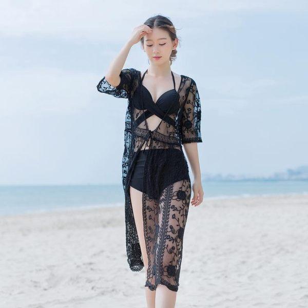防曬泳衣罩衫936蕾絲透視泰國度假連身裙海邊沙灘長裙仙女神開衫GT-B1F-BF-12B紅粉佳人