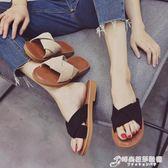 網紅拖鞋女夏時尚學生外穿防滑新款韓版平底一字拖涼鞋女ins 時尚芭莎鞋櫃