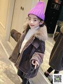 冬季女童大衣 女童燈芯絨外套秋冬裝2019新款韓版潮兒童加絨加厚大衣中大童冬季 快樂母嬰