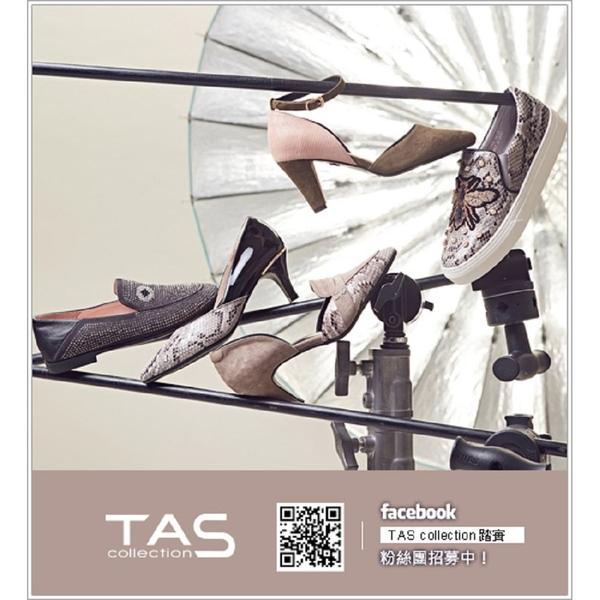 ★2018春夏新品★TAS 金屬皮帶扣立體縫線樂福鞋-實搭黑