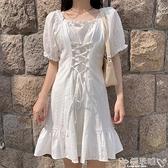 法式桔梗裙夏季復古泡泡袖連身裙木耳邊交叉綁帶方領法式裙桔梗風小個子裙女