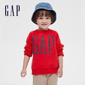 Gap男幼童 Logo碳素磨毛抓絨休閒上衣 656444-紅色
