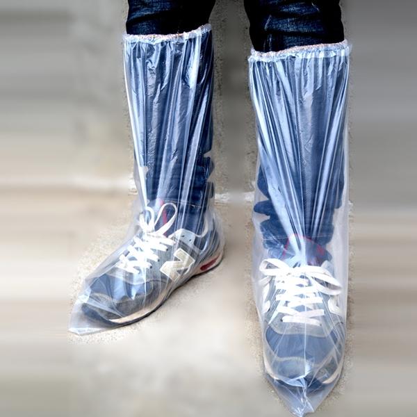 一次性鞋套防水雨天加厚長筒養殖場靴套防滑戶外漂流耐磨塑料腳套 安雅家居館