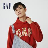 Gap男裝 碳素軟磨系列 Logo刷毛連帽休閒上衣 791339-橘紅色