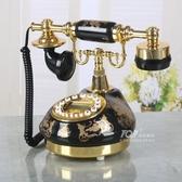 TQJ黑色陶瓷燙金田園仿古電話機家用老式座機客廳固定電話機 MKS新年慶