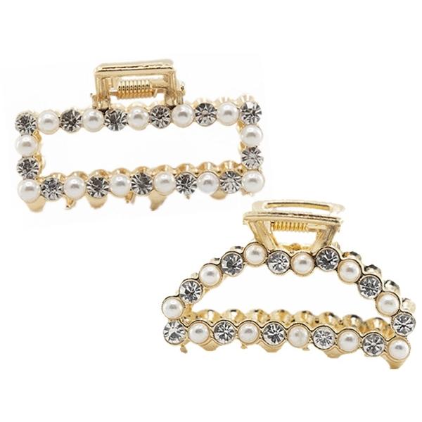 【任2件$70】韓國珍珠水鑽氣質抓夾-長方形/半圓(1入) 款式可選【小三美日】髮飾