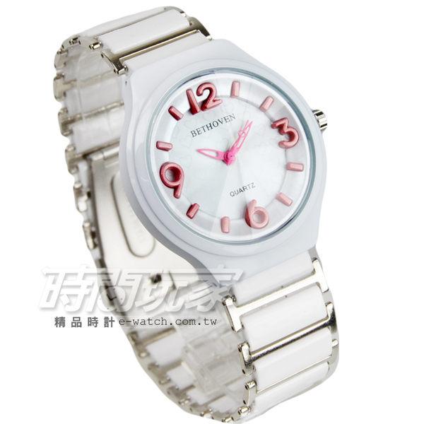 BETHOVEN 立體數字時刻愛心陶瓷腕錶 數字錶 女錶 防水手錶 BE2052白