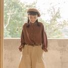 Queen Shop【01023906】厚雪紡拋袖設計質感寬版長袖襯衫 三色售*現+預*