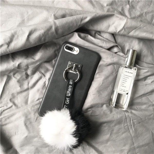 iPhone手機殼 韓國冬日黑白毛球 皮質軟殼 蘋果iPhone7/iPhone6 手機殼