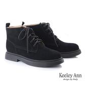 2019  _Keeley Ann 極簡魅力 素面綁帶厚底短靴黑色Ann 系列