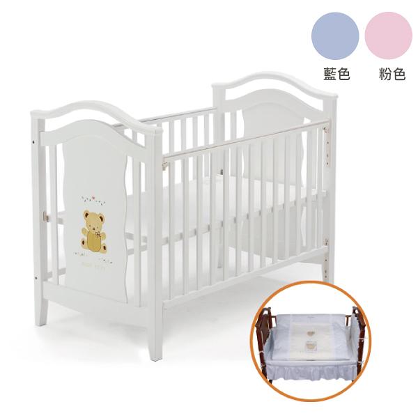 Baby City 鄉村古典熊大床+愛心熊七件寢具組合 (兩色可選)