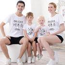親子裝夏2019新款潮飼養員母女父子一家三口四口全家半短袖T恤衫