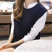 現貨出清 針織衫背心毛線學生套頭薄款毛衣馬甲女韓版短款寬鬆  1-19YXS