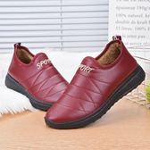 冬季老北京布鞋女士防水加厚保暖棉鞋中老年平底加絨媽媽棉靴 免運