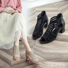 魚嘴涼鞋女夏2020新款粗跟中跟女士露趾后拉鏈高跟媽媽女鞋潮 LF4667【東京衣社】