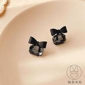 高級感耳釘潮簡約蝴蝶結耳環氣質s925純銀針耳飾女【貼身日記】