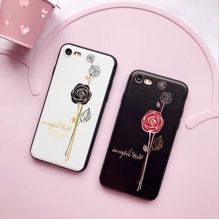 【SZ25】iPhone7/8 plus手機殼 黑邊情侶玫瑰花浮雕 iPhone 7/8 6plus iphone 6s 手機殼