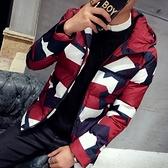 夾克外套-連帽冬季時尚迷彩保暖夾棉男外套3色73qa41【時尚巴黎】