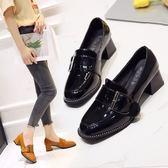 單鞋粗跟單鞋女春新款韓版百搭淺口黑色小皮鞋中跟方頭復古女鞋 喵小姐
