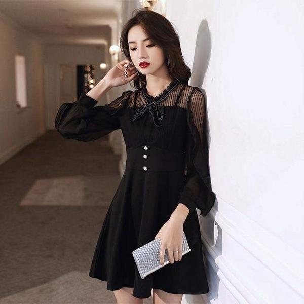 禮服 氣質黑色禮服裙子平時可穿聚會公司年會小個子名媛生日宴會連衣裙【快速出貨國慶八折】
