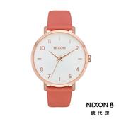 NIXON 手錶 原廠總代理 A1091-3028 Arrow Leather 橘粉白面 潮流時尚皮錶帶 男女 生日 情人節禮物