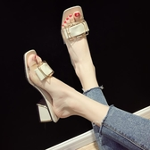 拖鞋女外穿2019新款夏季韓版粗跟方扣一字拖網紅chic復古沙灘涼拖居享優品