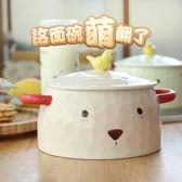 泡面碗筷套裝帶蓋卡通日式學生宿舍方便面碗