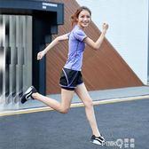 瑜伽服春夏季短袖運動上衣女健身房健身服短褲顯瘦套裝速干衣跑步 【PINK Q】