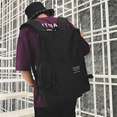 街拍書包男女韓版校園初中高中學生簡約bf風背包ins超火的雙肩包 晴天時尚