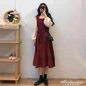 秋季裙子女2020新款中長款收腰復古設計感氣質紅色方領長袖洋裝 黛尼時尚精品
