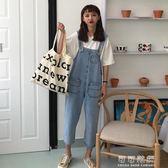 吊帶褲女夏韓國ulzzang寬鬆高腰連身褲寬管褲九分直筒褲 可可鞋櫃