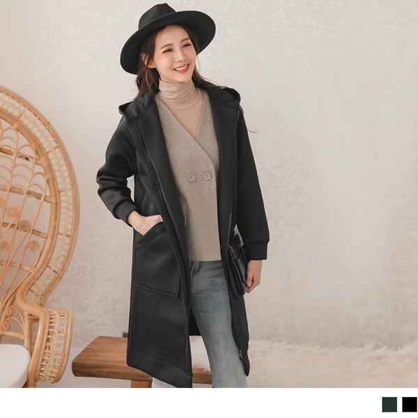 《EA1608-》純色暖感造型大口袋休閒長版連帽外套 OB嚴選