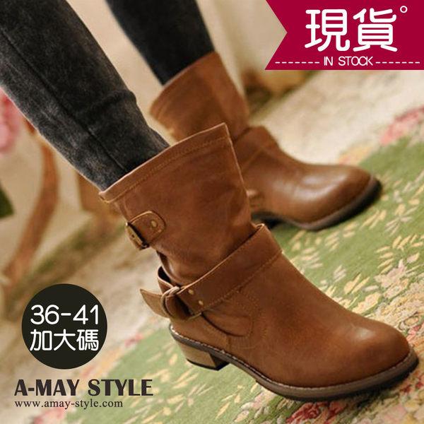 現貨短靴-韓風雙扣環中筒騎士靴(36-41加大碼)