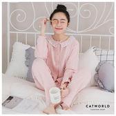Catworld 粉嫩蝴蝶結。產後月子哺乳加厚鋪棉睡衣兩件組【16600234】‧M/L/XL