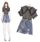 促銷價不退換襯衫半身裙套裝XL-5XL原創實拍33176夏季新款很仙的雪紡衫套裝格子襯衣牛仔褲兩件套
