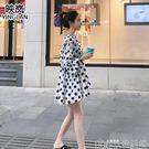 海南三亞沙灘裙女海邊度假超仙顯瘦娃娃裙白...