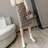 格子毛呢a字半身裙中長款秋冬女年新款時尚高腰顯瘦包臀裙子 雙十二全館免運
