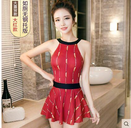 泳衣女小胸聚攏連體裙式平角保守遮肚顯瘦韓國氣質溫泉泳裝