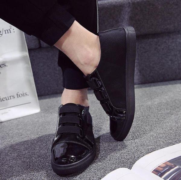 【免運】男鞋子黑色一腳蹬懶人帆布鞋男士休閒鞋韓版板鞋學生布鞋潮鞋
